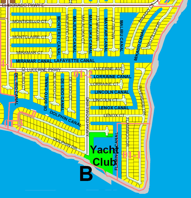 street and canal level map of Cape Coral unit 1