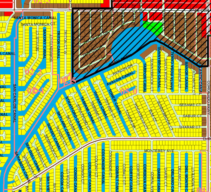 street and canal level map of Cape Coral unit 05