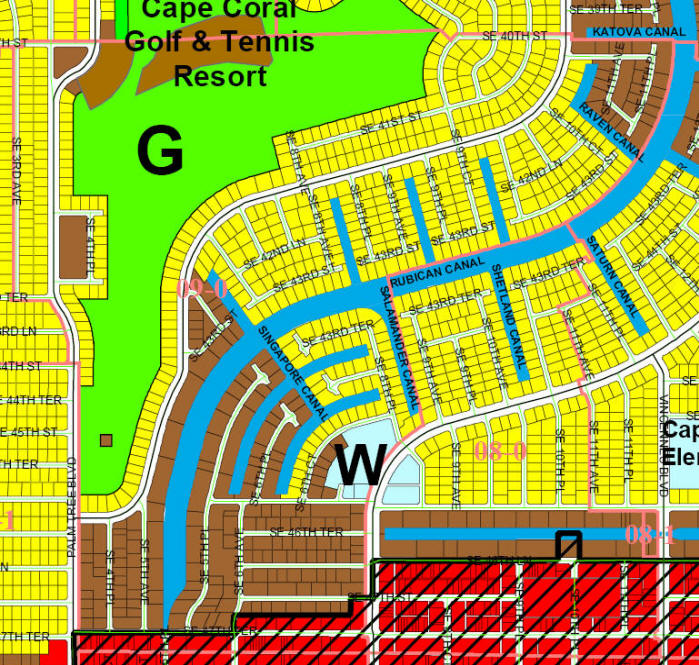 street and canal level map of Cape Coral unit 09