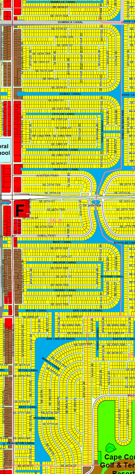 street and canal map of Cape Coral unit 26