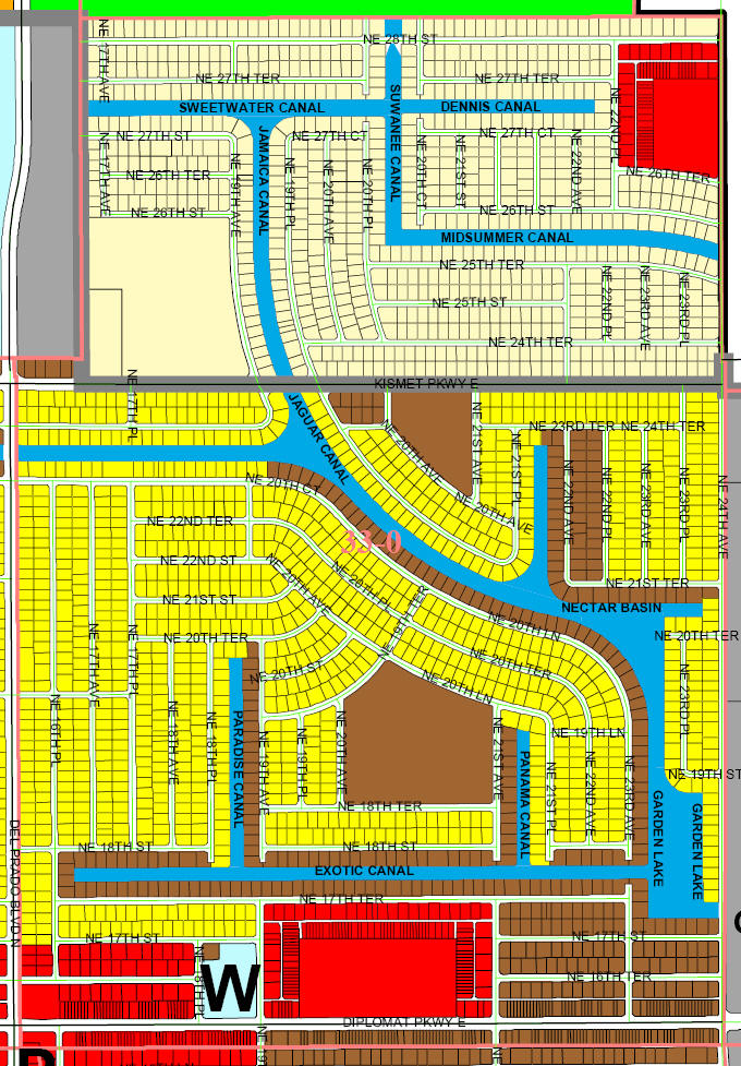 street and canal level map of Cape Coral unit 33