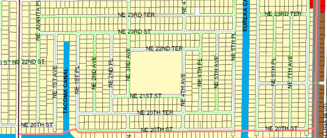 street and canal level map of Cape Coral unit 36