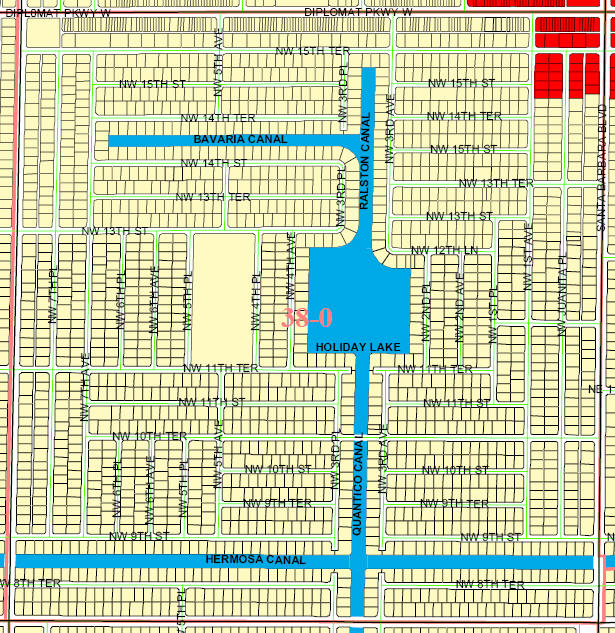 street and canal level map of Cape Coral unit 38