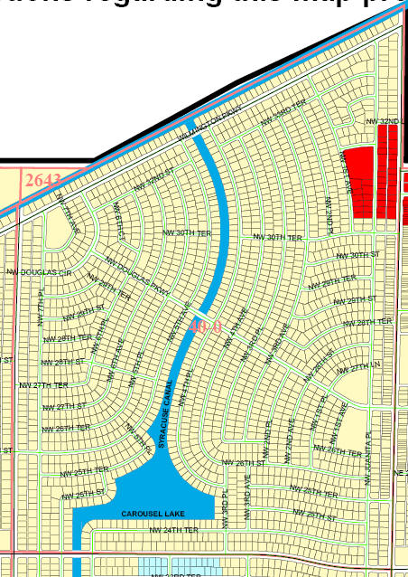 street and canal level map of Cape Coral unit 40