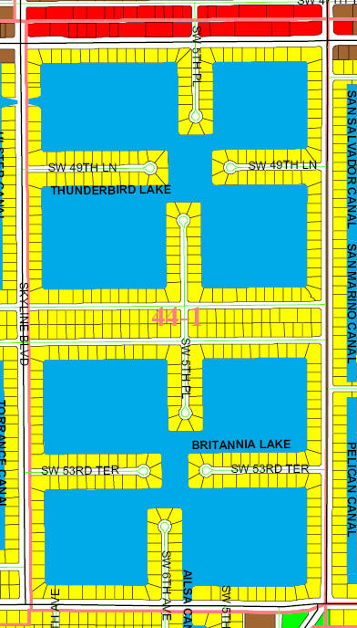 street and canal level map of Cape Coral unit 44-1