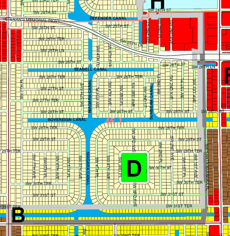 street and canal level map of Cape Coral Unit 45-1