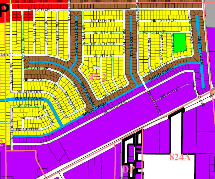street and canal level map of Cape Coral unit 47-2