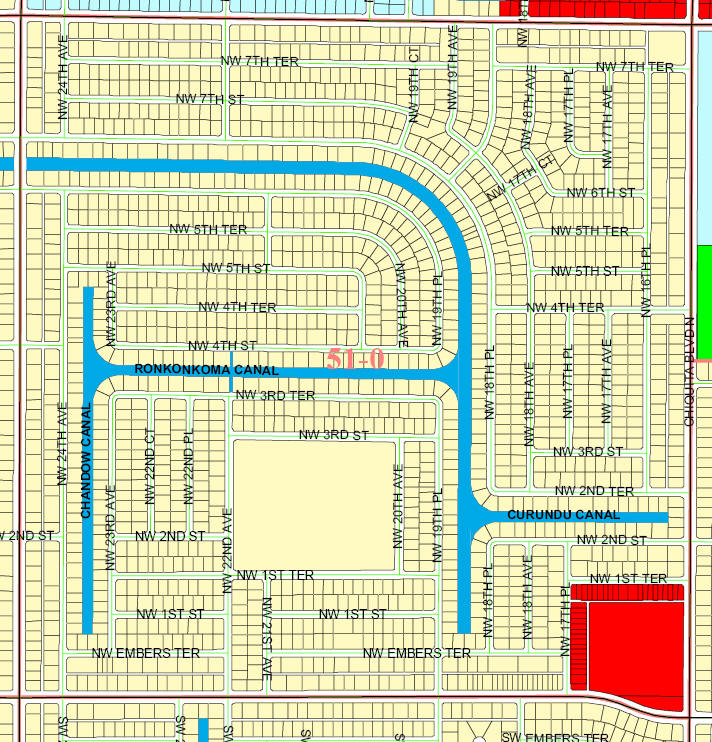 street and canal level map of Cape Coral unit 51