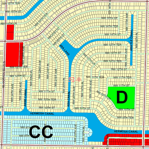 street and canal level map of Cape coral unit 52