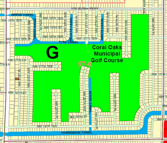 Street and Canal Level Unit Map of Cape Coral Unit 57