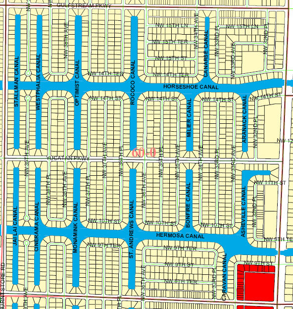 steet and canal level map of Cape Coral unit 60