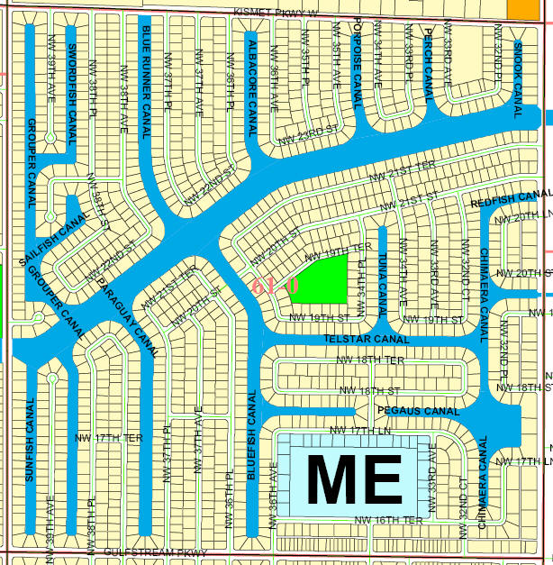street and canal level map of Cape Coral unit 61