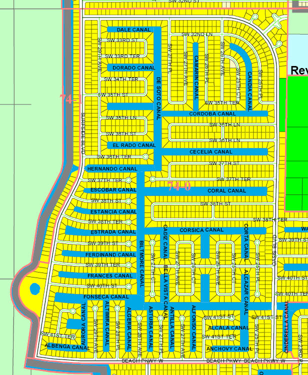 street and canal level map of Cape Coral unit 74