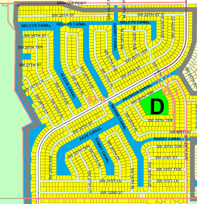 street and canal level map of Cape Coral unit 93