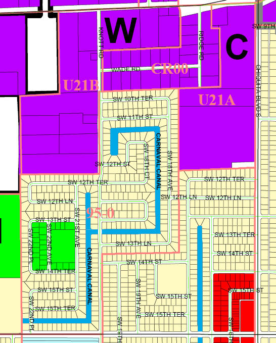 street and canal level map of Cape Coral Unit 95, U21B, CR00, U21A